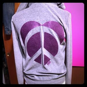 Victoria's Secret PINK gray hoodie peace sign